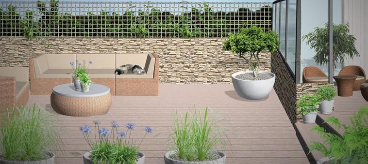 Lettstelt uteplass   enklere hage